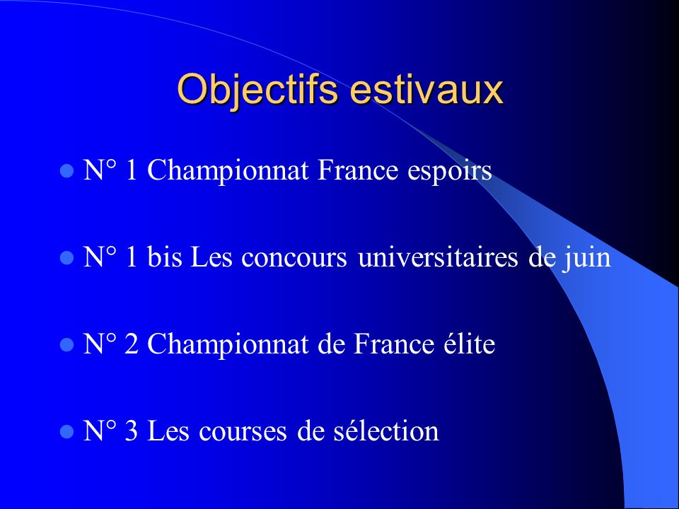 Objectifs estivaux N° 1 Championnat France espoirs