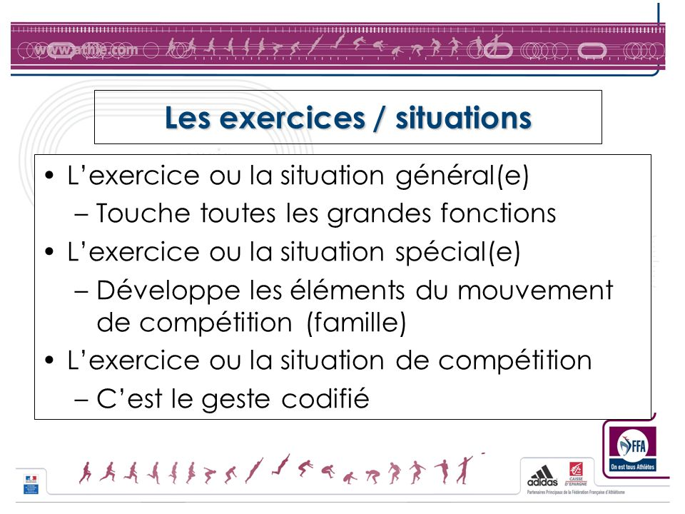 Les exercices / situations