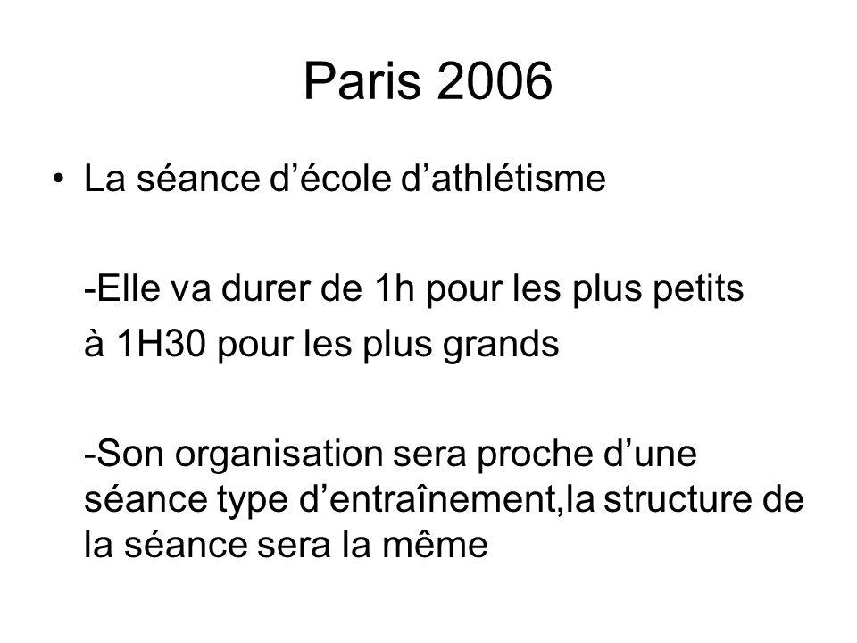 Paris 2006 La séance d'école d'athlétisme