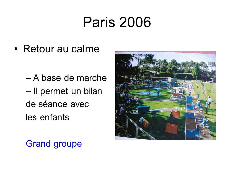 Paris 2006 Retour au calme A base de marche Il permet un bilan