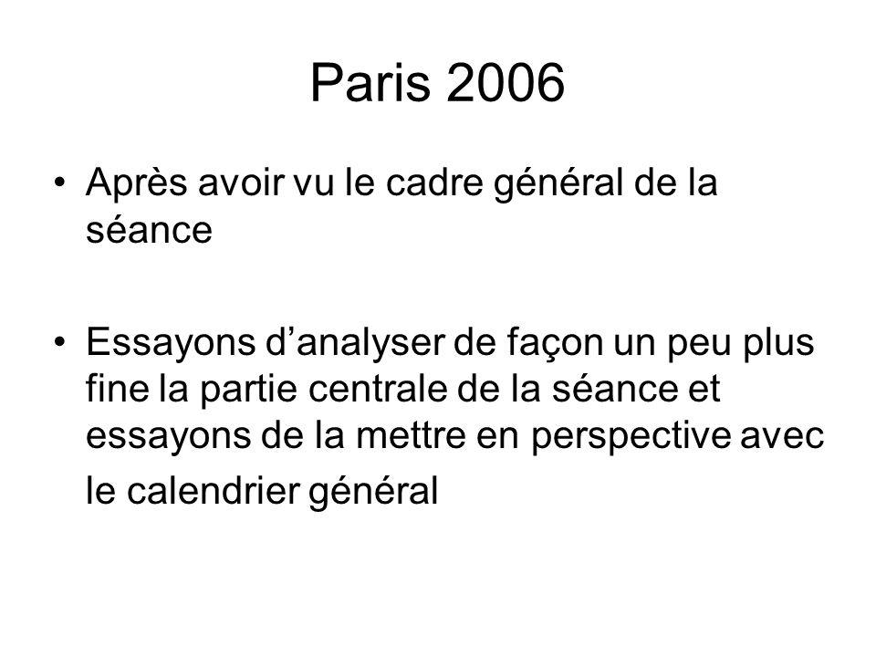 Paris 2006 Après avoir vu le cadre général de la séance