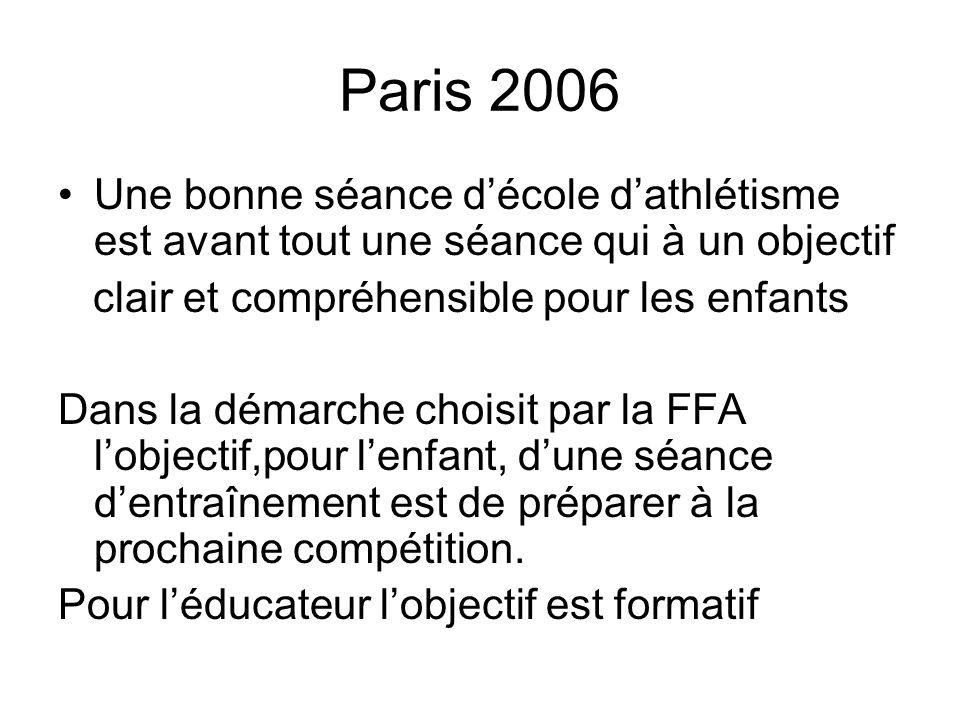 Paris 2006 Une bonne séance d'école d'athlétisme est avant tout une séance qui à un objectif. clair et compréhensible pour les enfants.