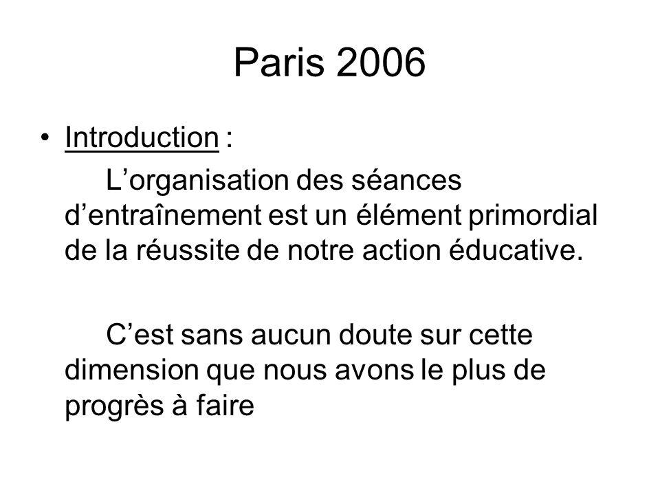 Paris 2006 Introduction : L'organisation des séances d'entraînement est un élément primordial de la réussite de notre action éducative.