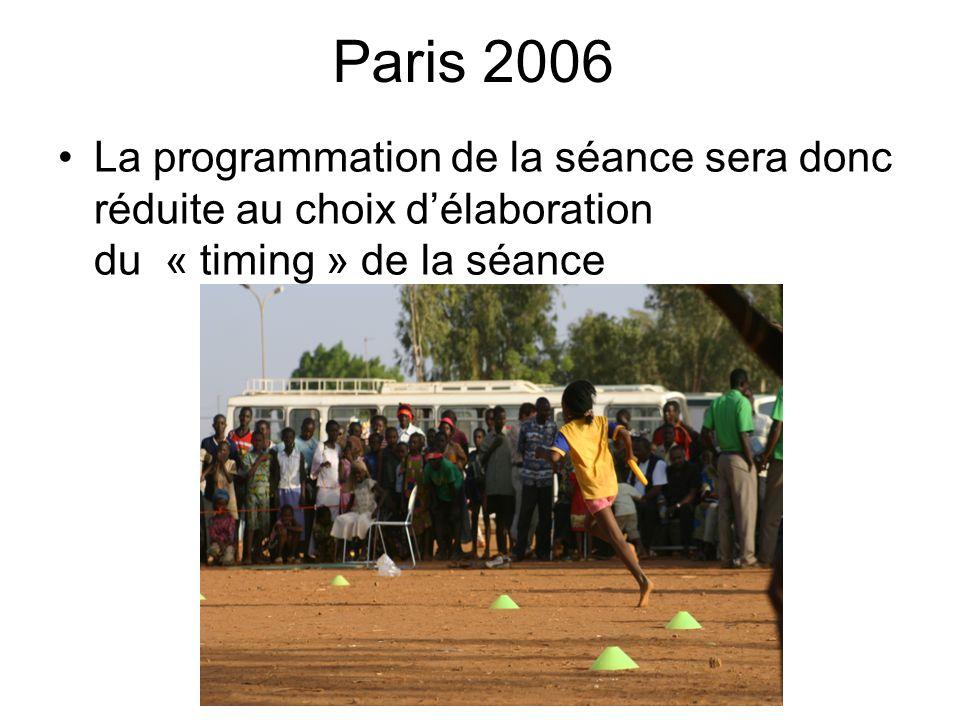 Paris 2006La programmation de la séance sera donc réduite au choix d'élaboration du « timing » de la séance.