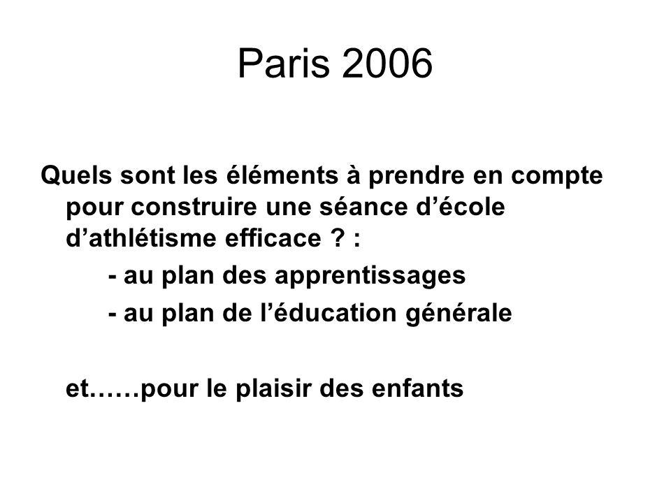 Paris 2006 Quels sont les éléments à prendre en compte pour construire une séance d'école d'athlétisme efficace :