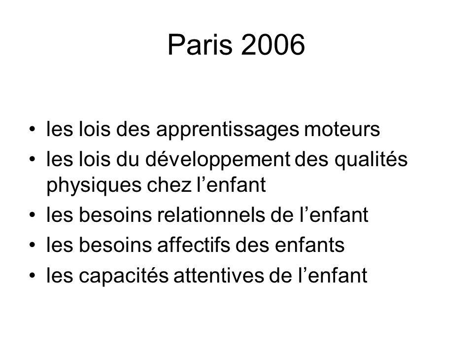 Paris 2006 les lois des apprentissages moteurs