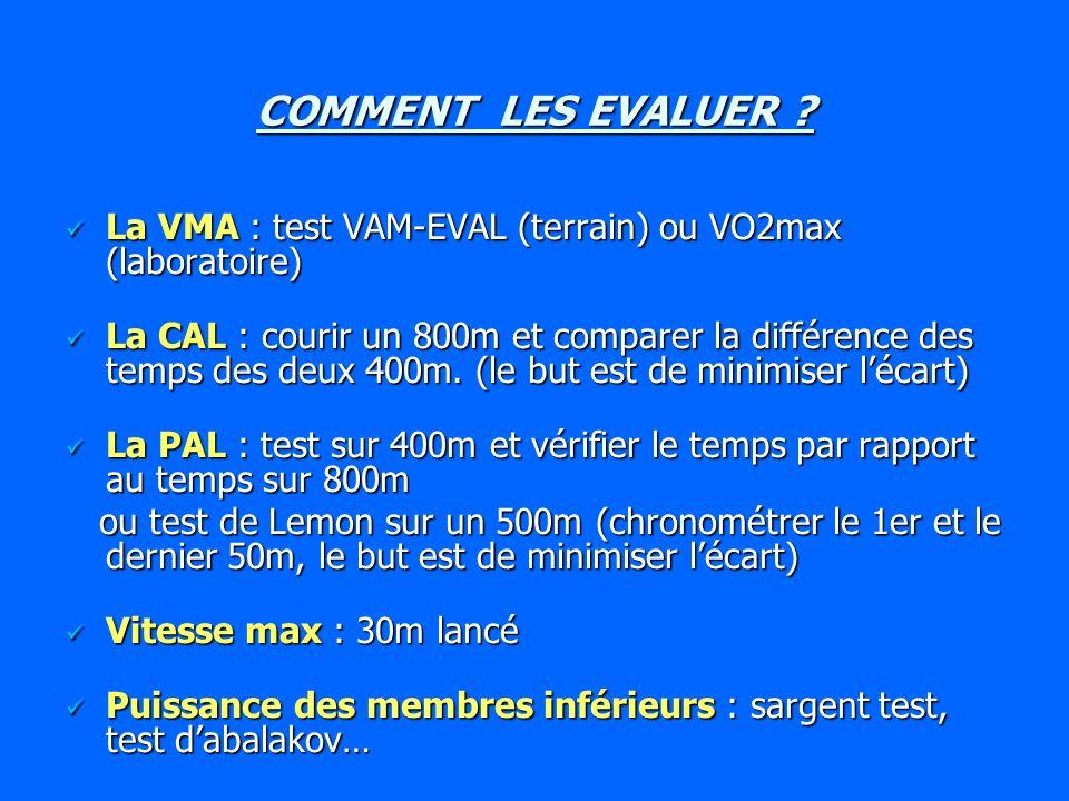 COMMENT LES EVALUER La VMA : test VAM-EVAL (terrain) ou VO2max (laboratoire)
