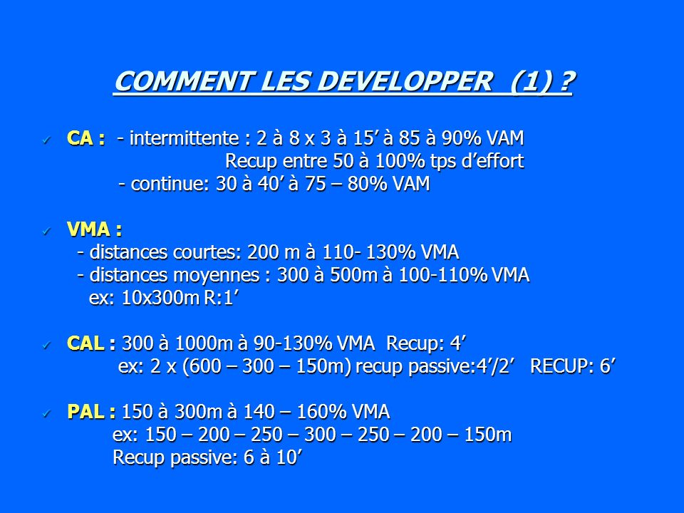 COMMENT LES DEVELOPPER (1)