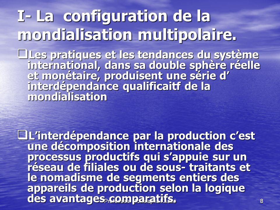 I- La configuration de la mondialisation multipolaire.