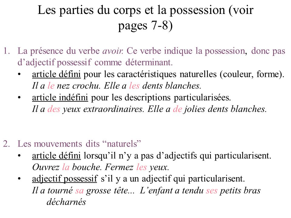 Les parties du corps et la possession (voir pages 7-8)