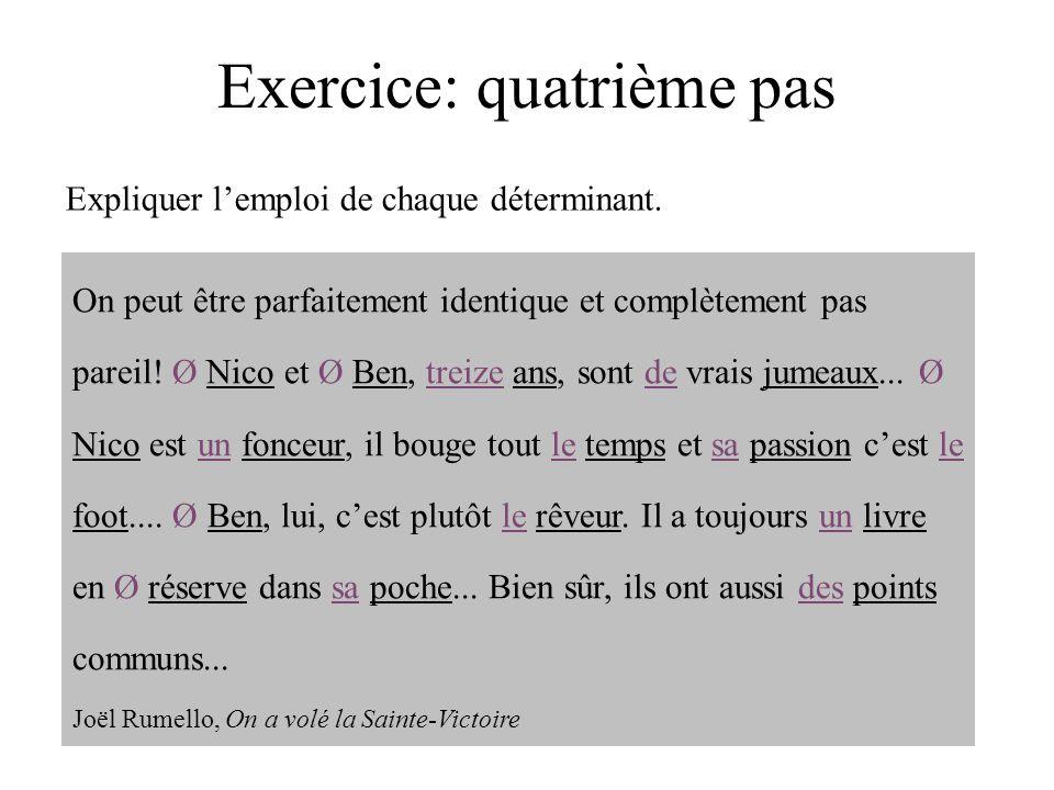 Exercice: quatrième pas