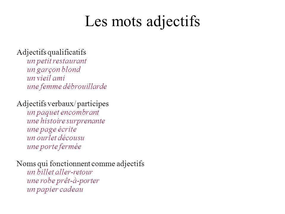 Les mots adjectifs Adjectifs qualificatifs un petit restaurant
