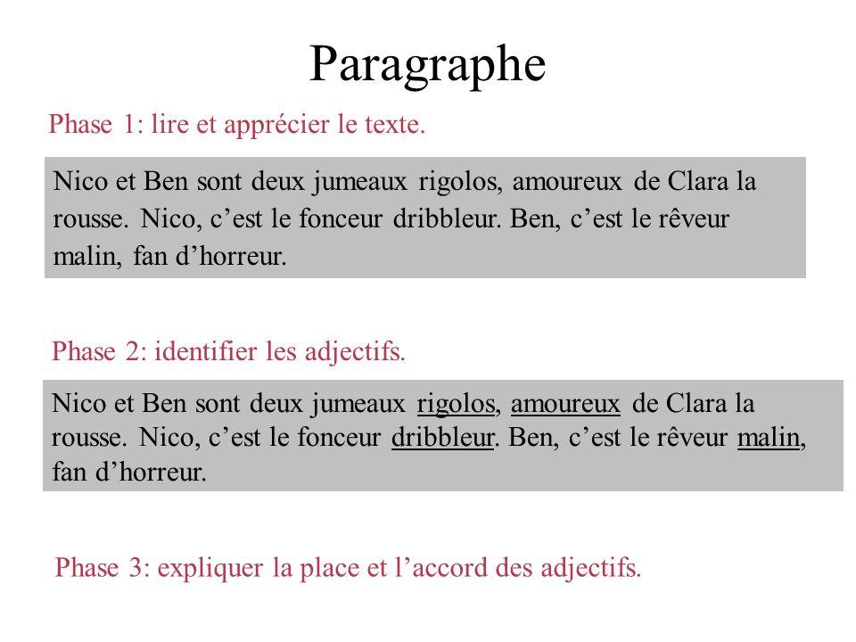 Paragraphe Phase 1: lire et apprécier le texte.