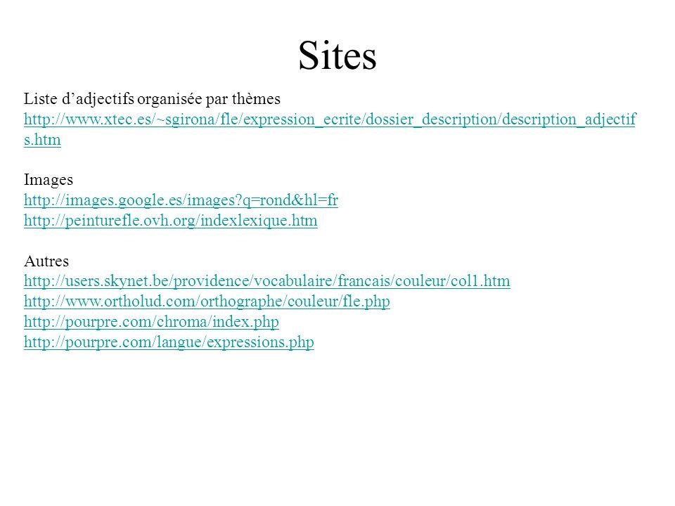 Sites Liste d'adjectifs organisée par thèmes