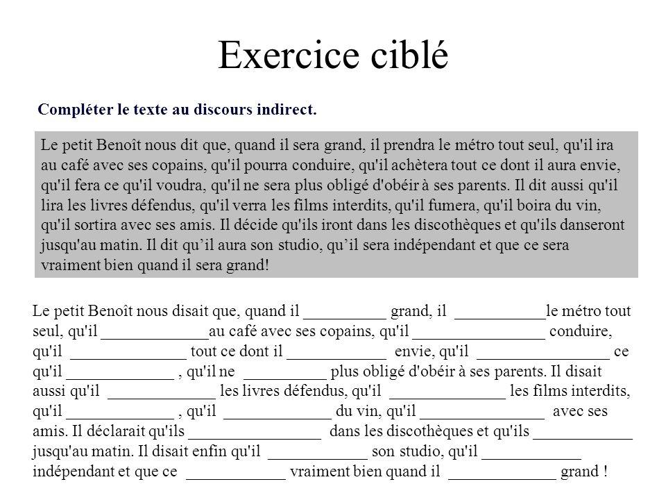 Exercice ciblé Compléter le texte au discours indirect.