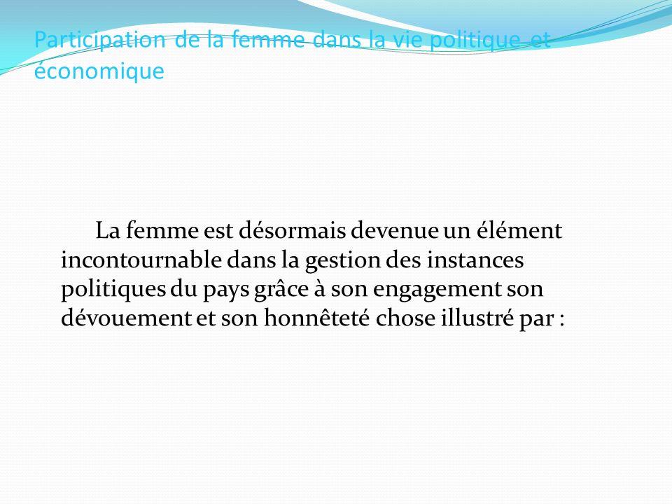 Participation de la femme dans la vie politique et économique
