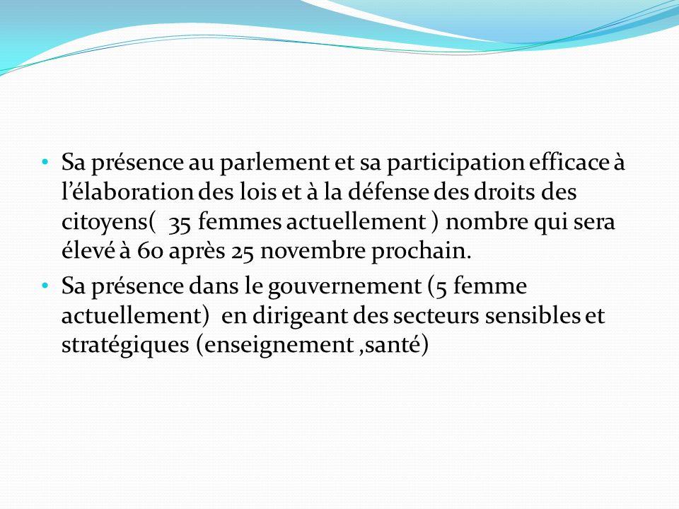 Sa présence au parlement et sa participation efficace à l'élaboration des lois et à la défense des droits des citoyens( 35 femmes actuellement ) nombre qui sera élevé à 60 après 25 novembre prochain.