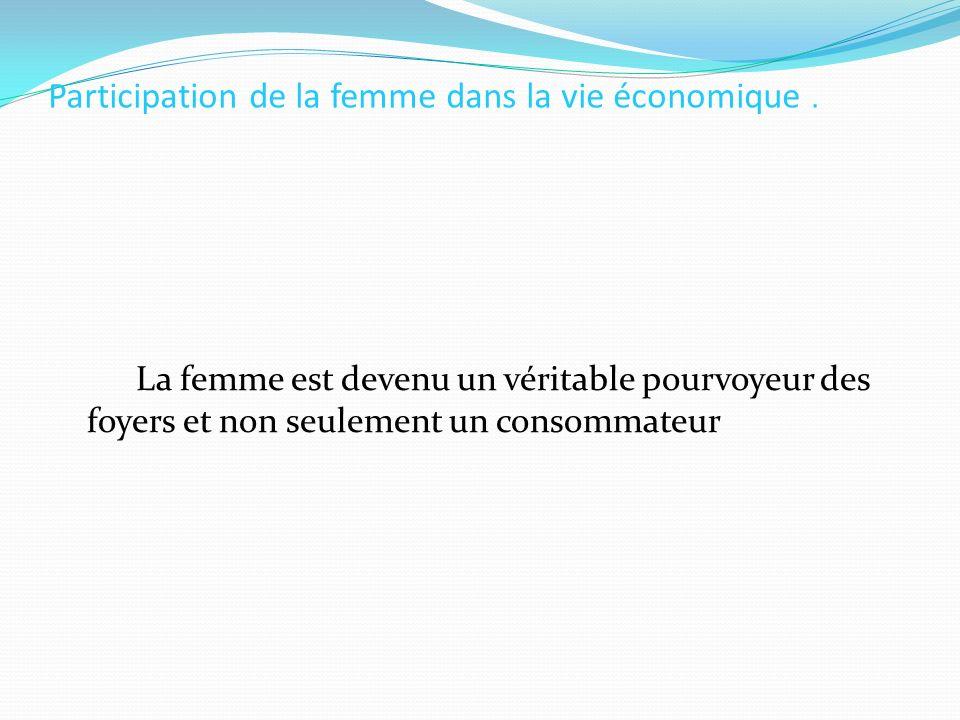 Participation de la femme dans la vie économique .