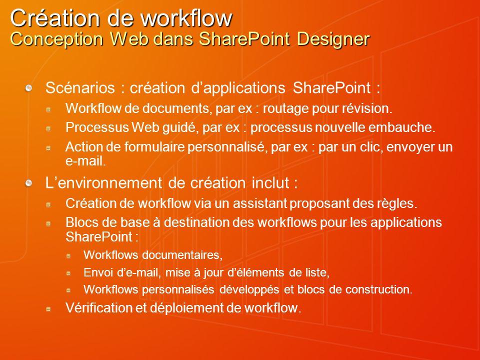 Création de workflow Conception Web dans SharePoint Designer