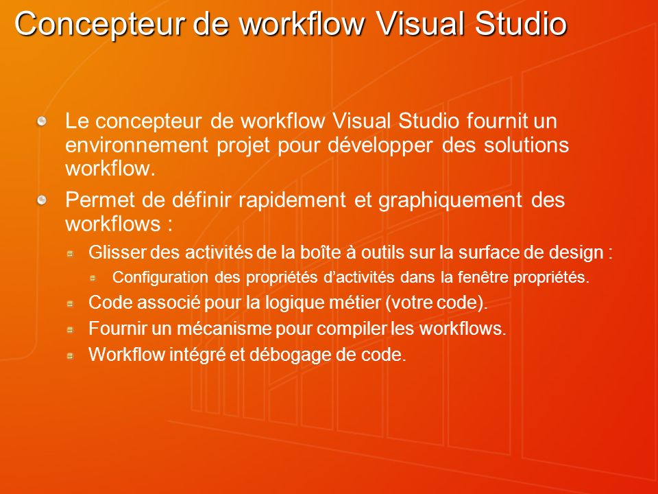 Concepteur de workflow Visual Studio