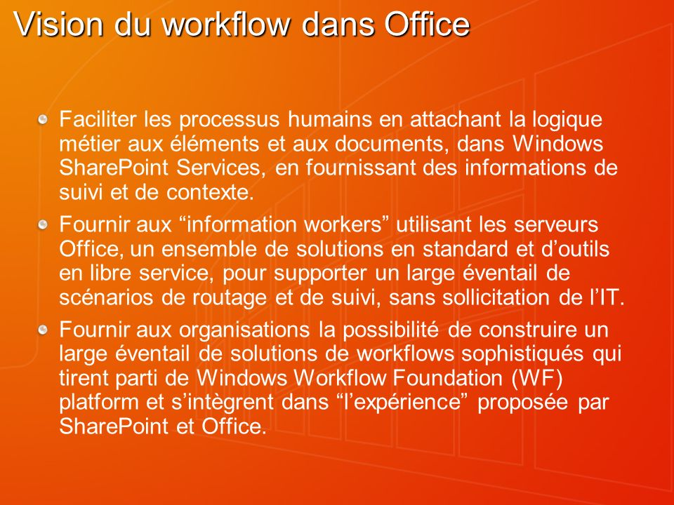 Vision du workflow dans Office