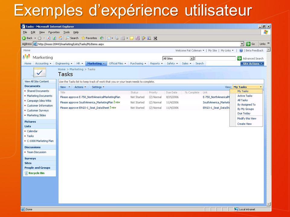 Exemples d'expérience utilisateur