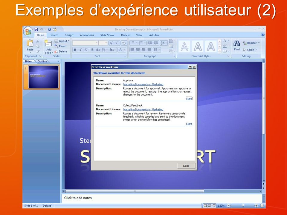 Exemples d'expérience utilisateur (2)
