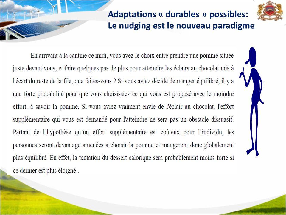 Adaptations « durables » possibles: