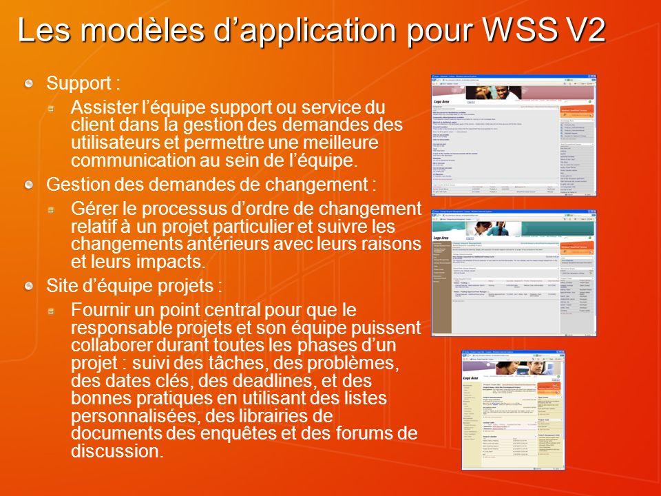 Les modèles d'application pour WSS V2