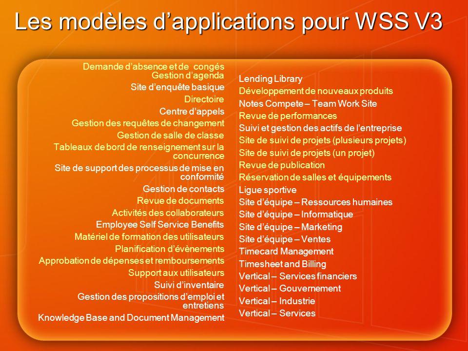Les modèles d'applications pour WSS V3