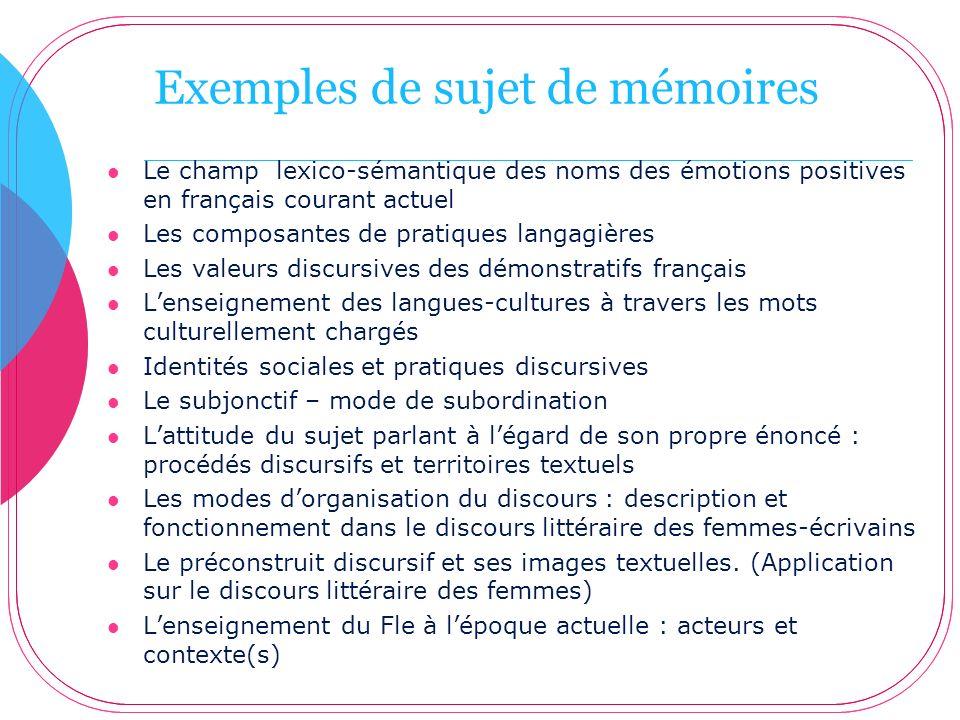 Exemples de sujet de mémoires