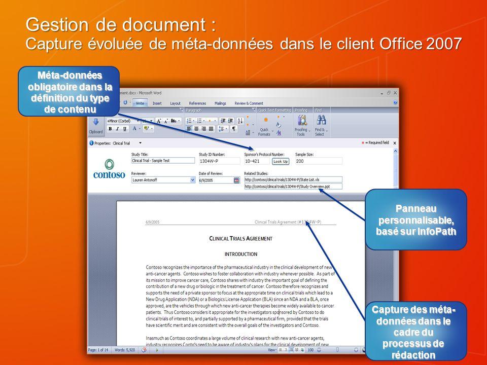 Gestion de document : Capture évoluée de méta-données dans le client Office 2007