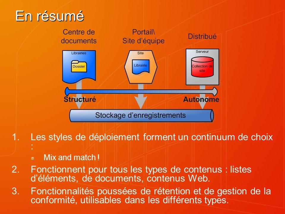En résumé Les styles de déploiement forment un continuum de choix :