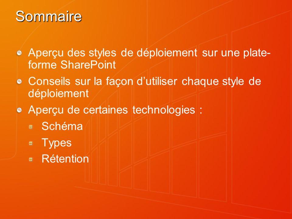 3/26/2017 7:29 PM Sommaire. Aperçu des styles de déploiement sur une plate-forme SharePoint.