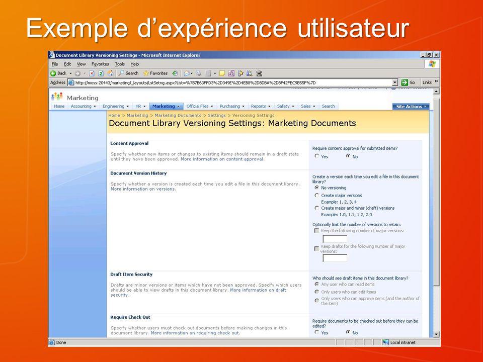 Exemple d'expérience utilisateur