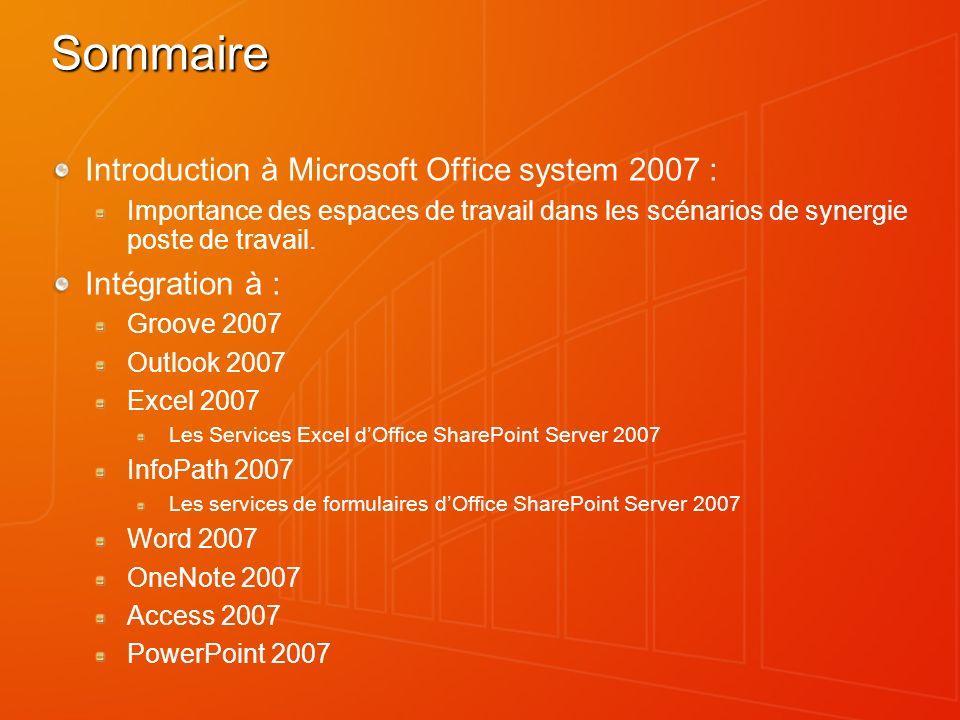 Sommaire Introduction à Microsoft Office system 2007 : Intégration à :