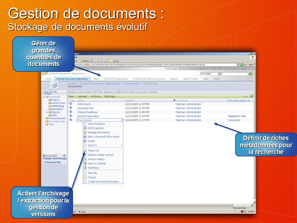 Gestion de documents : Stockage de documents évolutif