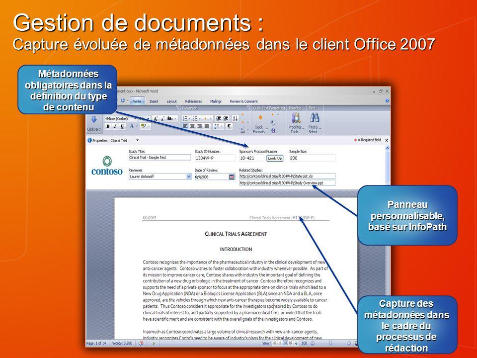 Gestion de documents : Capture évoluée de métadonnées dans le client Office 2007