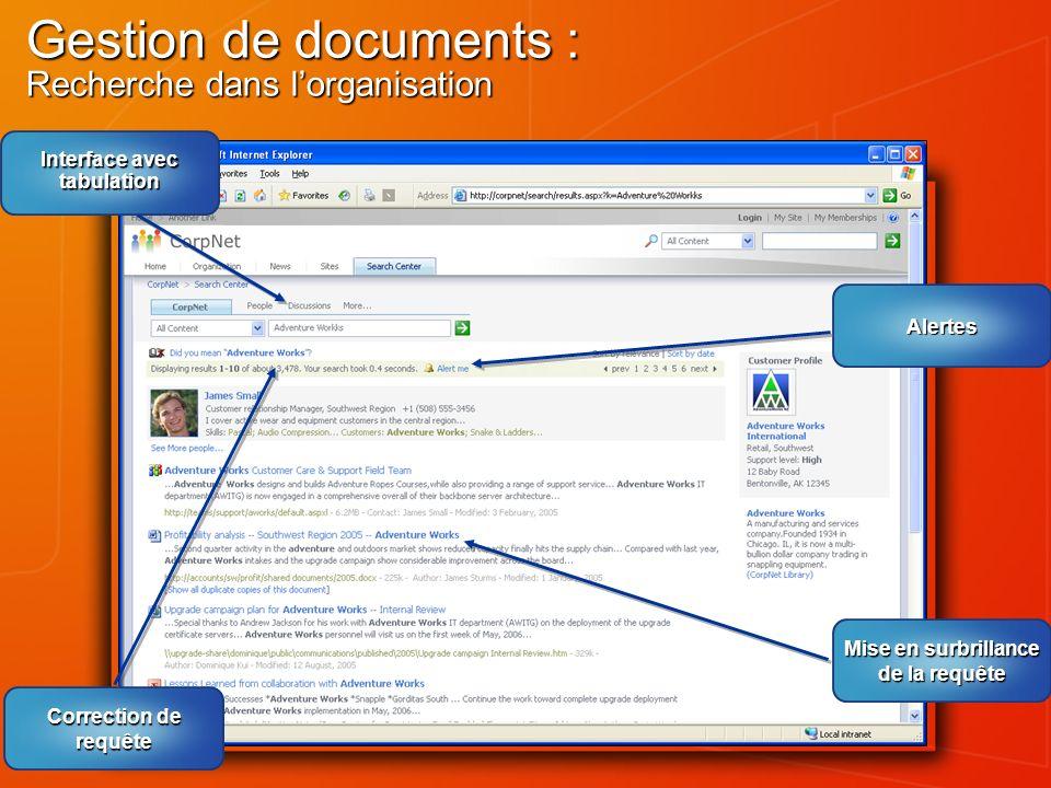Gestion de documents : Recherche dans l'organisation