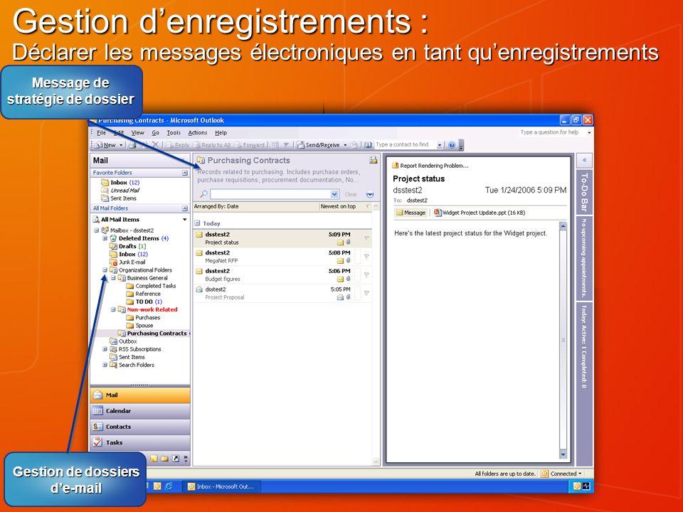 Message de stratégie de dossier Gestion de dossiers d'e-mail