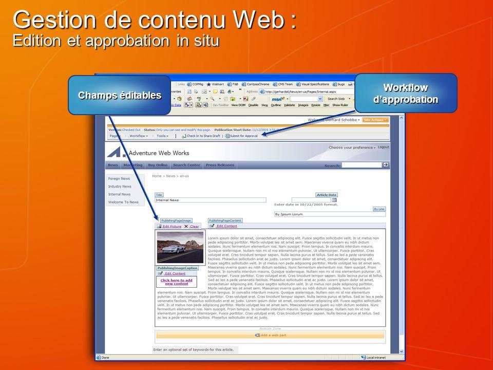 Gestion de contenu Web : Edition et approbation in situ