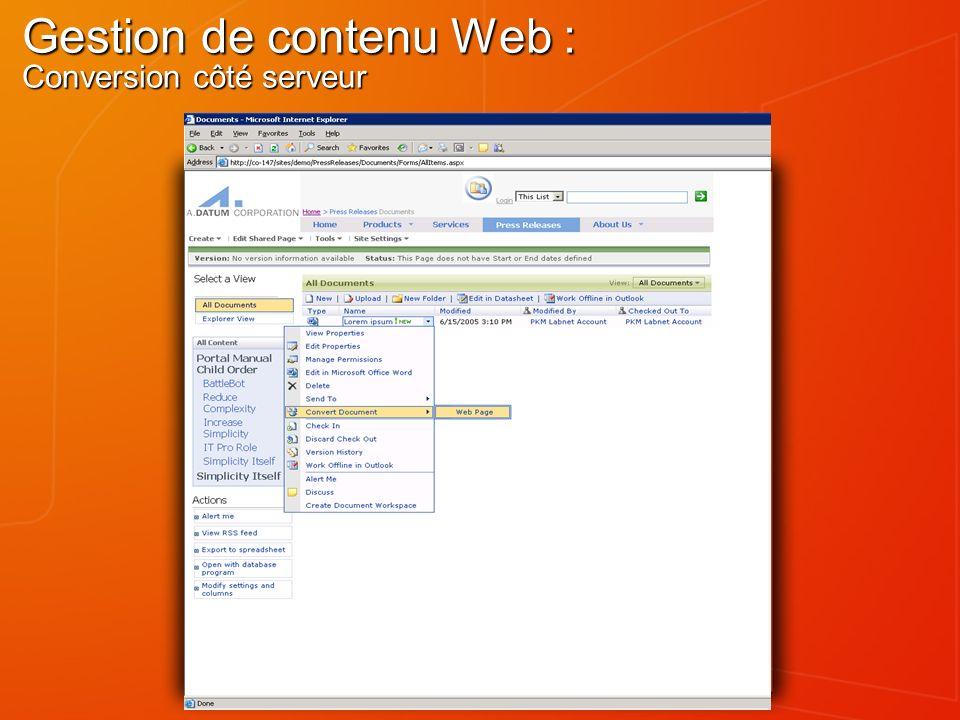 Gestion de contenu Web : Conversion côté serveur