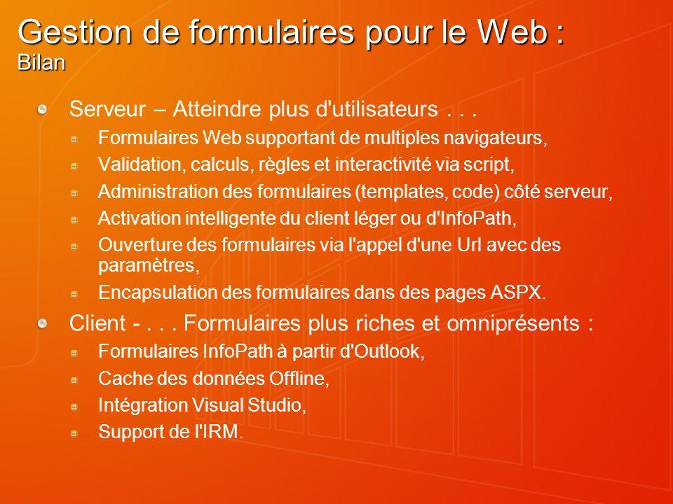 Gestion de formulaires pour le Web : Bilan