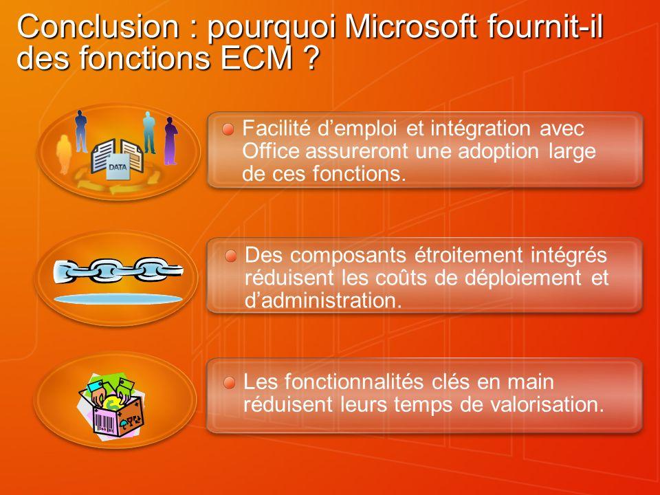 Conclusion : pourquoi Microsoft fournit-il des fonctions ECM