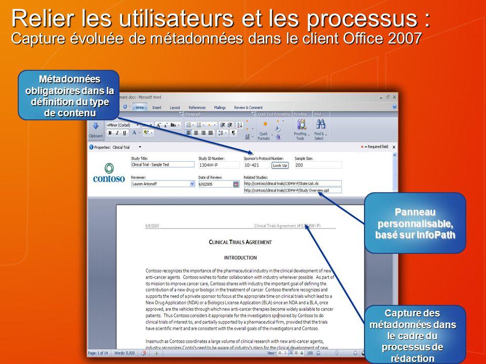 Relier les utilisateurs et les processus : Capture évoluée de métadonnées dans le client Office 2007