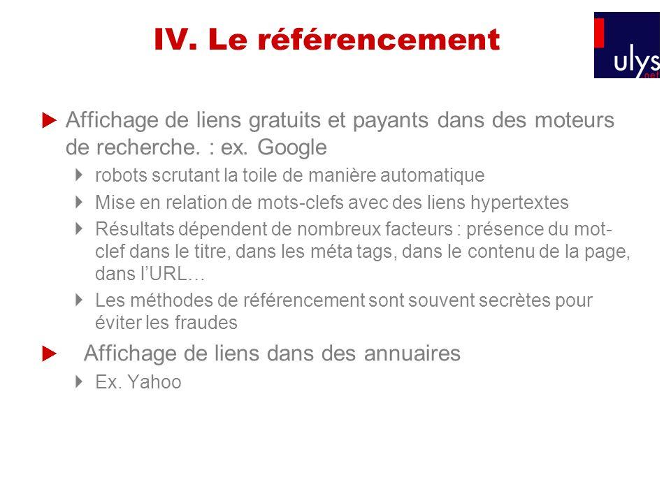 IV. Le référencement Affichage de liens gratuits et payants dans des moteurs de recherche. : ex. Google.