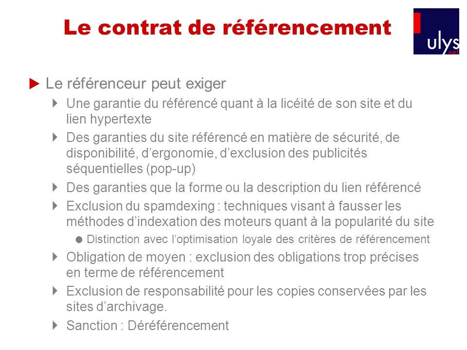 Le contrat de référencement