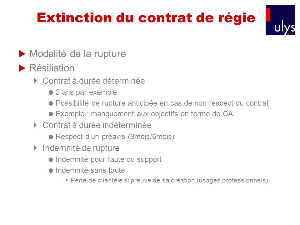 Extinction du contrat de régie
