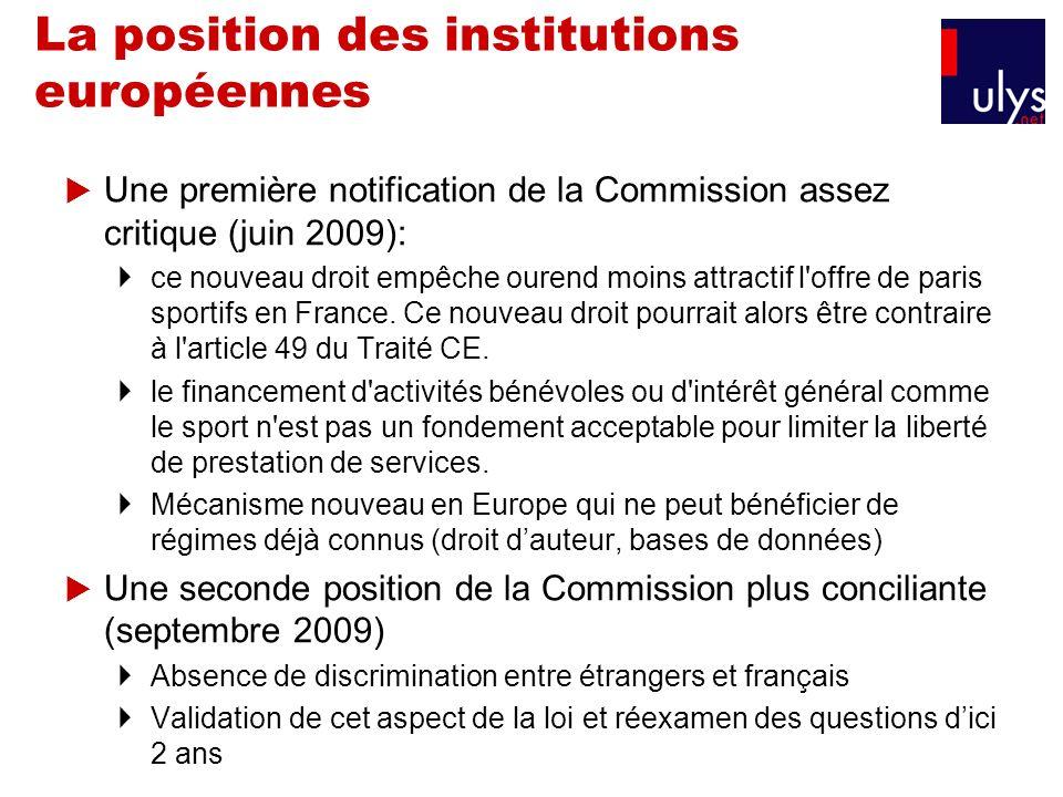 La position des institutions européennes