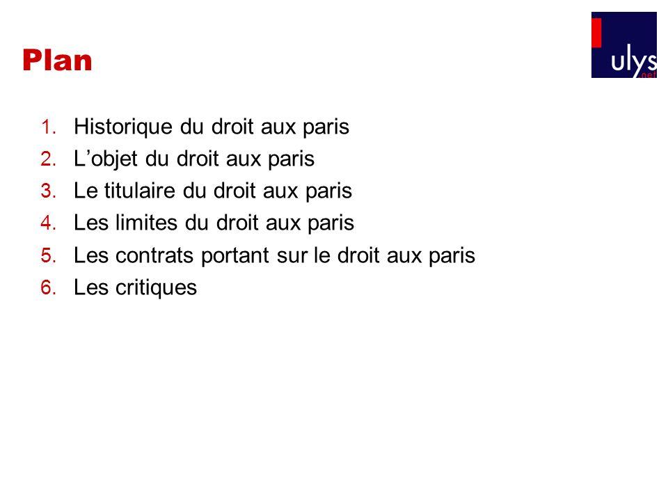 Plan Historique du droit aux paris L'objet du droit aux paris